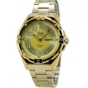 Мъжки часовник Q&Q A188J003Y,стилен часовник със златист корпус и верижка.