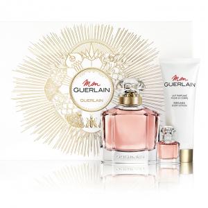 Дамски подаръчен комплект Mon Guerlain парфюм 100 мл, мини парфюм 5 мл и лосион за тяло 75мл