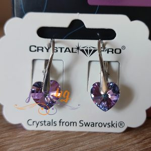Дамски обеци Heart Vitrail Light Crystal Pro® с кристали Swarovski®