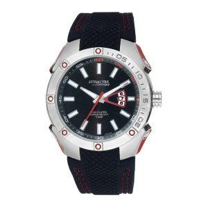 Мъжки часовник Q&Q DB24J302Y от серията Atractive с черна силиконова каишка и сребрист корпус от Juel.bg