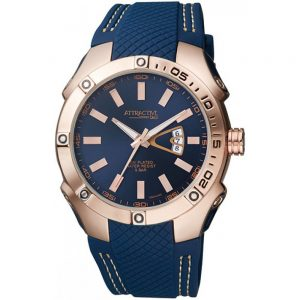 Мъжки часовник Q&Q DB24J542Y със синя каишка и златист корпус от Juel.bg