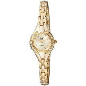 Дамски часовник Q&Q F621J010Y в златист цвят.
