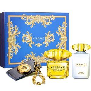 Дамски комплект Versace Yellow Diamond Intense EDP 90 ml боди лосион100 ml и маркер за чанта