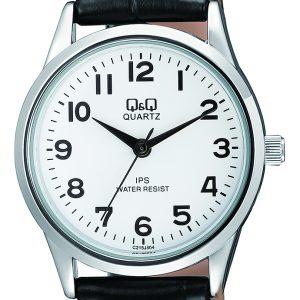 Дамски часовник Q&Q - C215J304Y с черна кожена каишка