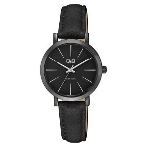 Дамски часовник Q&Q - Q893J512Y, черен с кожена каишка