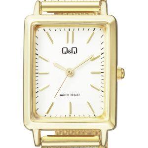 Дамски часовник Q&Q - QB95J011Y с метална верижка в златист цвят и правоъгълен корпус.