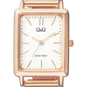 Дамски часовник Q&Q - QB95J021Y. Дамски часовник с метална верижка и правоъгълен корпус в цвят розово злато.