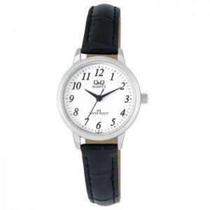 Дамски часовник Q&Q - C155J314Y с черна кожена каишка
