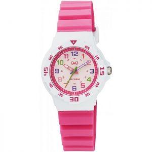 Детски часовник Q&Q - VR19J012Y в розово и бяло