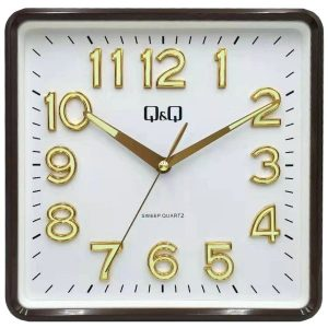 Стенен часовник Q&Q 0309H501Y с кафяв корпус