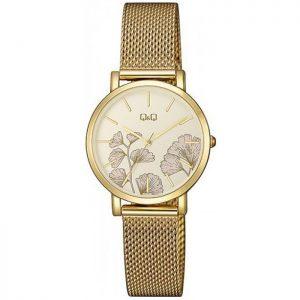 Дамски часовник Q&Q - QA21J031Y със златиста верижка тип гривна