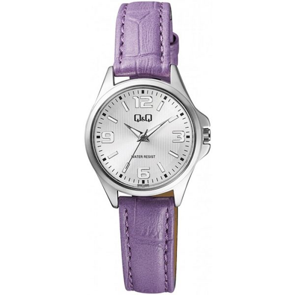 Дамски аналогов часовник Q&Q - QA07J334Y с лилава каишка
