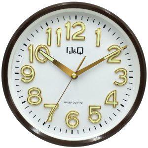 Стенен часовник Q&Q 0310H500Y с кафяв корпус