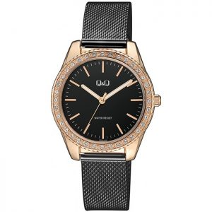 Дамски аналогов часовник Q&Q - QZ59J402Y с черна верижка